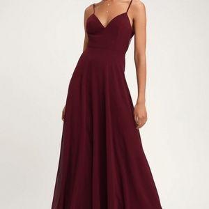 Romantic Ways Burgundy Lace Button Back Maxi Dress